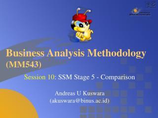 Business Analysis Methodology (MM543)
