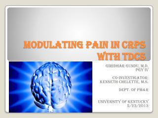 Modulating pain in CRPS with tDCS