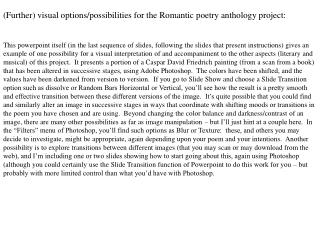 (Further) visual options/possibilities for the Romantic poetry anthology project: