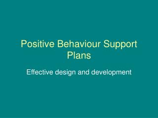 Positive Behaviour Support Plans