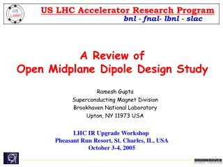 A Review of  Open Midplane Dipole Design Study