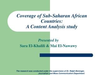 Coverage of Sub-Saharan African Countries: A Content Analysis study
