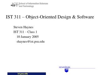 IST 311 – Object-Oriented Design & Software