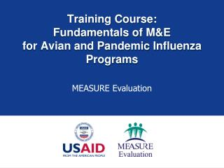 Training Course: Fundamentals of M&E for Avian and Pandemic Influenza Programs