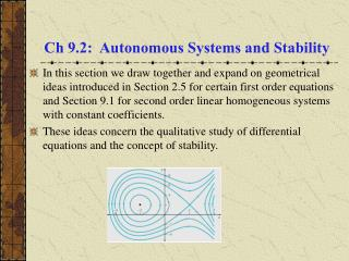 Ch 9.2: Autonomous Systems and Stability