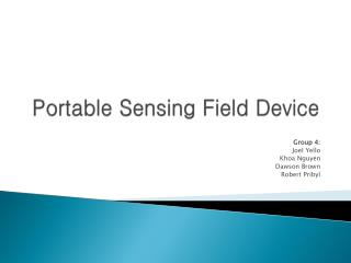 Portable Sensing Field Device