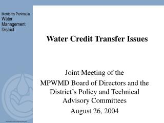 Water Credit Transfer Issues