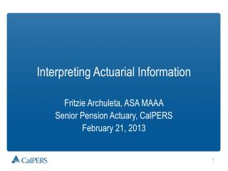 Interpreting Actuarial Information