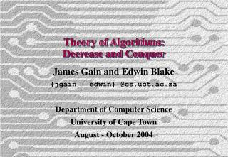 Theory of Algorithms: Decrease and Conquer