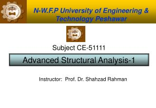 N-W.F.P University of Engineering & Technology Peshawar