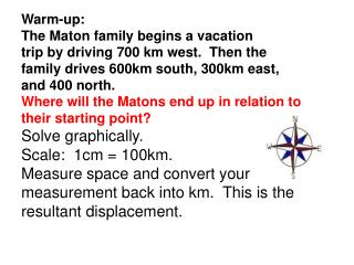 Warm-up: The Maton family begins a vacation trip by driving 700 km west.  Then the