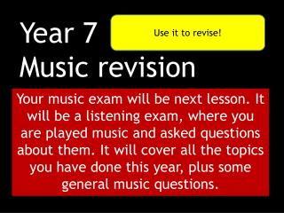 Year 7 Music revision