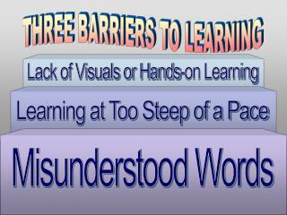 THREE BARRIERS TO LEARNING