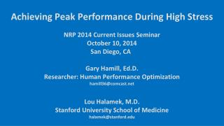 NRP 2014 Current Issues Seminar  October 10, 2014        San Diego, CA  		 Gary Hamill,  Ed.D .