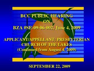 SEPTEMBER 22, 2009