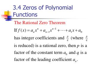 3.4 Zeros of Polynomial Functions