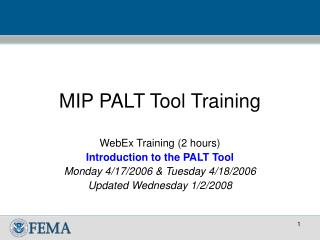 MIP PALT Tool Training
