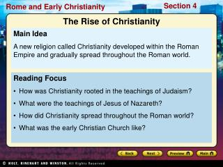 Reading Focus How was Christianity rooted in the teachings of Judaism?