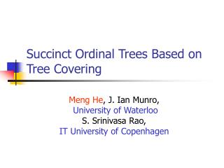 Succinct Ordinal Trees Based on Tree Covering