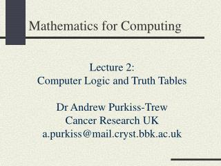 Mathematics for Computing