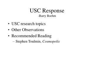 USC Response -Barry Boehm