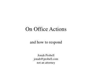 On Office Actions