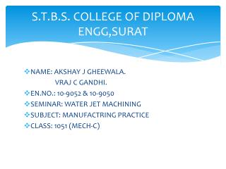 S.T.B.S. COLLEGE OF DIPLOMA ENGG,SURAT