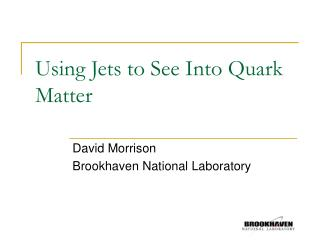Using Jets to See Into Quark Matter
