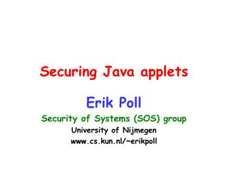 Securing Java applets
