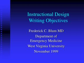 Instructional Design Writing Objectives