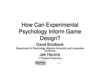 How Can Experimental Psychology Inform Game Design?