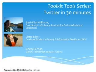 Toolkit Tools Series:  Twitter  in 30 minutes