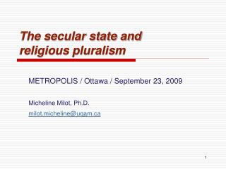 The secular state and religious pluralism