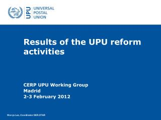 Results of the UPU reform activities