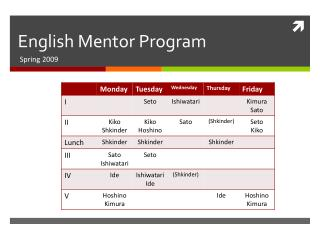English Mentor Program