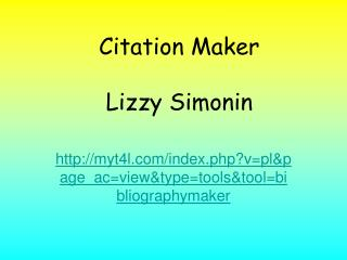 Citation Maker Lizzy Simonin