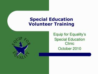Special Education Volunteer Training
