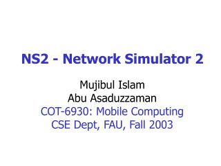 NS2 - Network Simulator 2