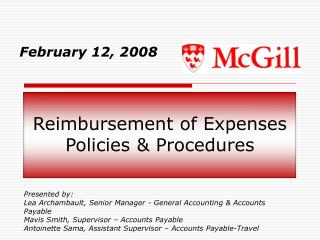 Reimbursement of Expenses Policies & Procedures