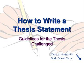 How to Write a Thesis Statement