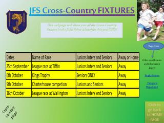 JFS Cross-Country FIXTURES