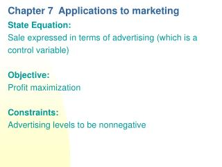 Chapter 7  Applications to marketing