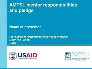 Selection criteria for AMTSL mentors