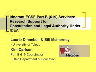Itinerant ECSE Part B (619) Services: Research Support for Consultation and Legal Authority Under IDEA