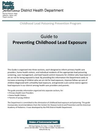 Guide to Preventing Childhood Lead Exposure