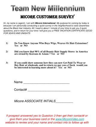 Micore Customer Survey