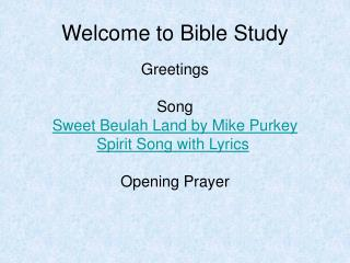Welcome to Bible Study