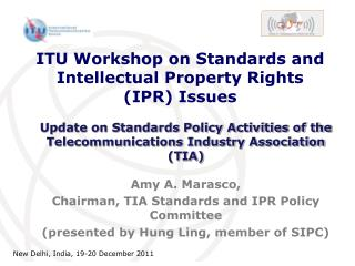 ITU Workshop on Standards and Intellectual Property Rights (IPR) Issues