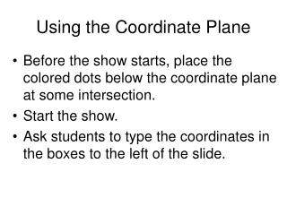 Using the Coordinate Plane