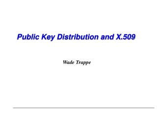 Public Key Distribution and X.509